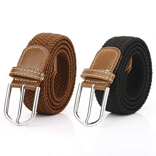 2 Piezas Cinturón Trenzado Elástico de Mujer Cinturones Hombre Elásticos Tejidos para Jeans Pantalones (Negro y Marrón)