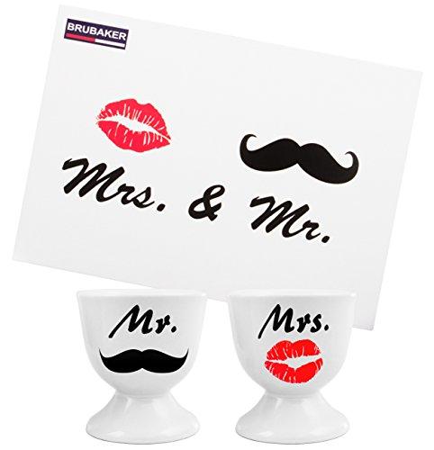 Brubaker - Coffret de 2 Coquetiers 'Mr. & Mrs.' - Céramique - Idée Cadeau avec Carte de vœux