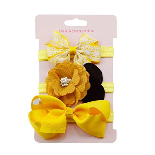 (erthome Stirnband, Baby Mädchen Bowknot Haarband Set 3Pcs Kinder elastisches Blumen Stirnband Haarband (Gelb))