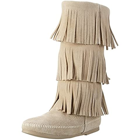 Minnetonka 1638T 3-Layer Fringe boot Stone