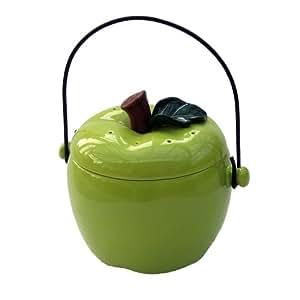 ceramic apple kitchen compost caddy green compost crock. Black Bedroom Furniture Sets. Home Design Ideas