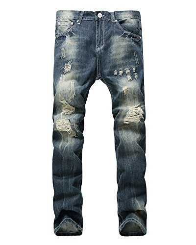 Herren Beiläufig Stonewash Destroyed Jeans Denim Hose Distressed Ripped Jeanshose Dunkelblau 31
