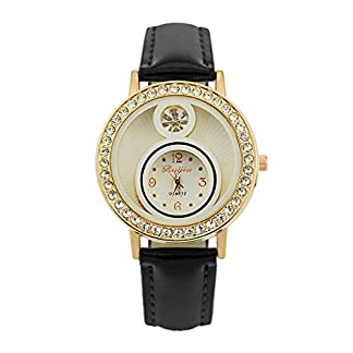LABIUO-Damenuhren-Mode-Luxus-Analog-Quarz-Edelstahl-Uhr-Kristall-Strass-Dial-Leder-Armbanduhr