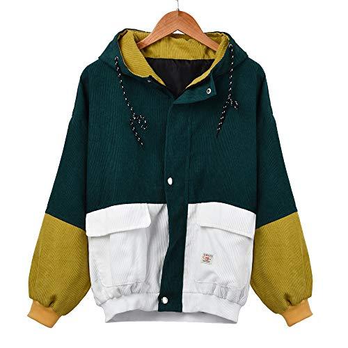 Damen Mantel, VEMOW Frauen Langarm Cord Patchwork Oversize Jacke Windbreaker(Grün, 42/2XL)