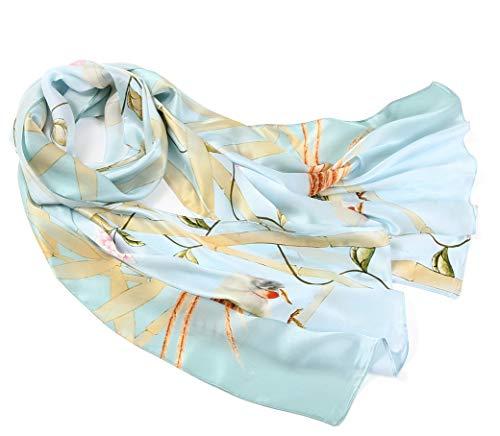 prettystern - 180cm Langer Chinesische Malerei Pinsel Freihand Zeichnung Kunstdrucke Seidenschal -vögel Blumen Pflanzen Hellblau Z01 - Vögel Zeichnung