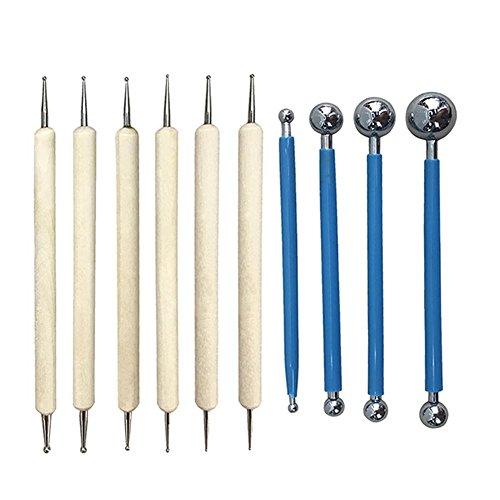 Symboat - 10-teiliges Prägestifte- Set, Prägewerkzeuge, Bastelmaterial, Stifte aus Edelstahl, Kugelformen, für Mandalas, Skulpturen, Malerei