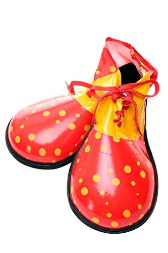 DRESS ME UP Kostüm Karneval Zirkus Übergroße Clownschuhe Clown Rot mit Gelben Punkten VQ-026B