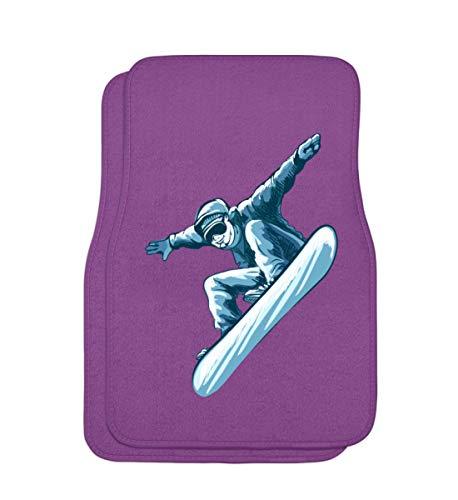 Snowboarder in Action, I love Snowboarding, Snowboard T-Shirt, Wintersport, Ski Alpin, Kiteboard, Boarder, Pistensau, Geschenkidee - Automatten 2er Set vorn -Einheitsgröße-Lila (Snowboard T-shirts)