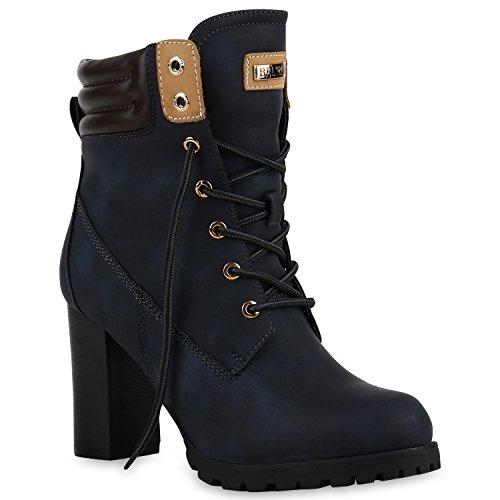 Damen Schnürstiefeletten Stiefeletten Worker Boots Wildleder-OptikHalbhohe Stiefel Wildleder-Optik Schuhe 129367 Dunkelblau 36 (2017 Kostüme Weibliche)