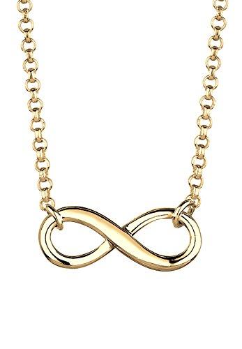 Elli Damen Schmuck Halskette Kette mit Anhänger Infinity  Unendlichkeit Liebe Freundschaft Forever Liebesbeweis Silber 925 Vergoldet Länge 38 cm