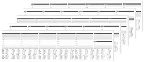 RNK Notiz-Tastaturvorlage mit Wochenkalender, 50 x 13cm, 52 Blatt, 5 Stück - 5 Blatt 52