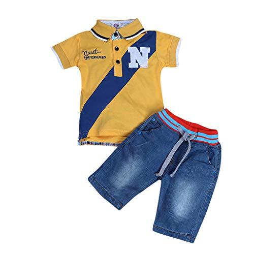 Julhold Kinder Jugendliche Kinder Jungen Lässige Slips Gedruckt Slim Baumwoll T-Shirt Tops + Denim Hosen Outfit 1-7 Jahre