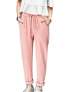 AnyuA Tallas Grandes Mujer Pantalones Harem Ligeros con Cintura Elástica