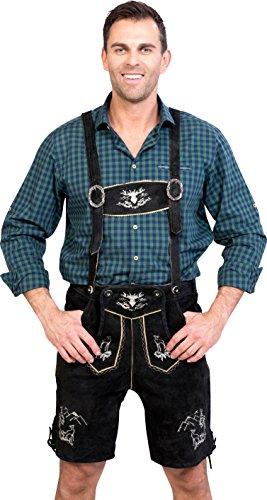Almwerk Herren Trachten Lederhose kurz Platzhirsch in Verschiedenen Farben, Farbe:Schwarz;Lederhose Größe Herren:56