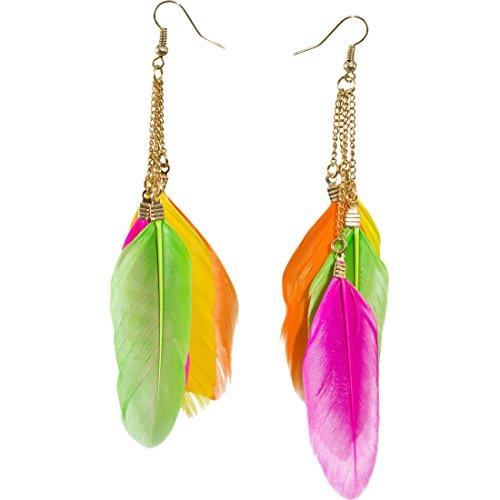 (Feder Ohrringe Indianer Ohrhänger neonfarben Neon Federohrringe Neonparty Ohrschmuck Pocahontas Federschmuck Mottoparty Ohr Schmuck Karnevalskostüme Accessoires Damen)