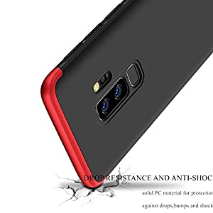 WOW Imagine 3 in 1 Double Dip Case Anti Slip Hard Hybrid PC All Angle Protection Matte Hard Back Cover for Samsung Galaxy S9 Plus - Black with Red