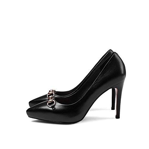 hexiaji 22cm-25ccm chaussure femme chausson à haut talon chaussure à perle chaussure à lacet chaussure rouge noire Noir