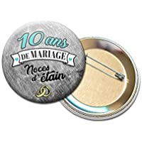 Badge Rond à Épingle 5,6 centimètres 10 Ans de Mariage Noces d' Étain Idée Cadeau Accessoire Accessoire Anniversaire Mariage Couple