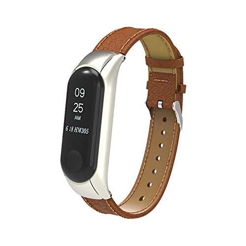 Genuiseric Lederband für Xiaomi Mi Band 3 einstellbar verstellbares Metall-Box-Armband für Ersatz-Armband (Brown)