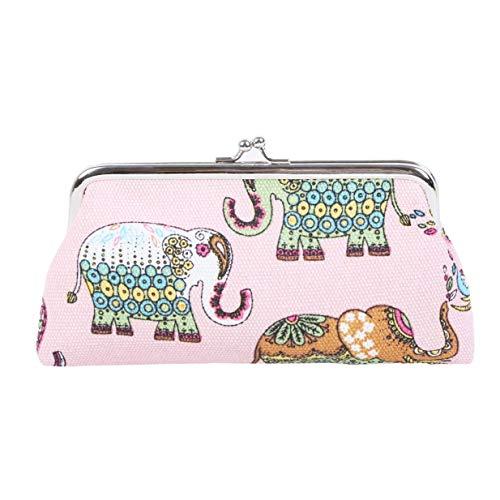Ogquaton Durable, lindo, caricatura, elefantes, billetera, mujeres, vintage, monedero, elegante, niña, almacenamiento,...