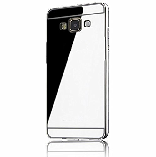 Sunroyal Samsung Galaxy A5 SM-A500F (2015) Mirror Spiegel Metall Case Cover - Aluminium Bumper Case für Samsung Galaxy A5 Metal Hülle Alu Metal Schutz Mirror Chrom Cover Ultra Slim Handy Tasche LUXUS Metall BackCover Schutzhülle Rahmenschutz Glitzer Bling Kristall Harte Hard Schale Crytsal, Silber Silver