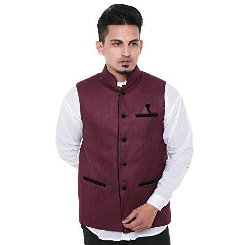 Twist Mens Sleeveless Festive Nehru Jacket Casual Wear Plain Waistcoat (Maroon)  available at amazon for Rs.899