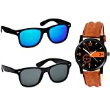 Stysol Polarized Wayfarer & Round Sunglasses and College Boys Luxury Watch for Boys Accessories Combo BT-CMB-367