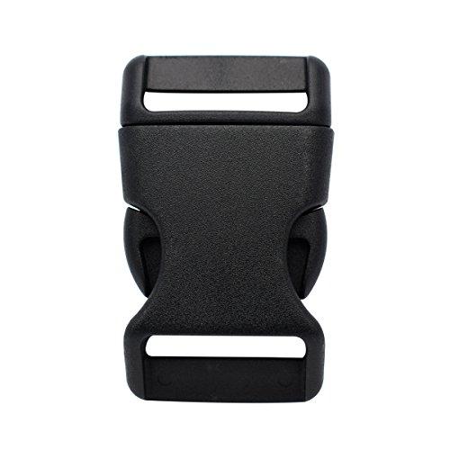 Kunststoffschnallen, konturierte seitliche Schnallen für Paracord-Armband, Tasche, Rucksack, 25 mm, Schwarz , Pack of 10pcs