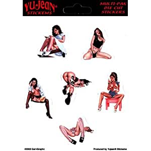 """Keith Garvey - Assortment Mini Sexy Girl Pinup PIN-UP autocollant Sticker - 4.5"""" x 5"""" - Weather Resistant, Long Lasting for Any Surface"""