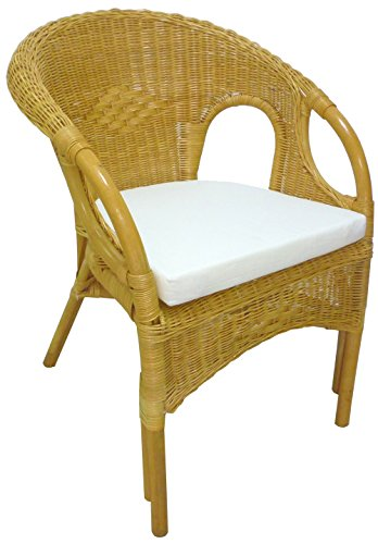 Poltrona sedia mandalio in vimini bambù rattan e giunco naturale con cuscino per casa salotto giardino