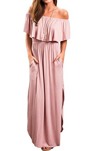 5e6970542385 LANOMI Damen Off Shoulder Bandeau Langes Kleid Sommer Party Hippie BOHO  Kleider Abendkleid Maxikleid Cocktailkleid Freizeitkleid mit Schlitz (EU  42, Pink)
