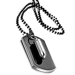 """Idea Regalo - Cupimatch - Collana con ciondolo, da uomo, in lega con proiettile, da motociclista, piastrina in stile militare, catena da 69,8 cm (27,5"""")"""