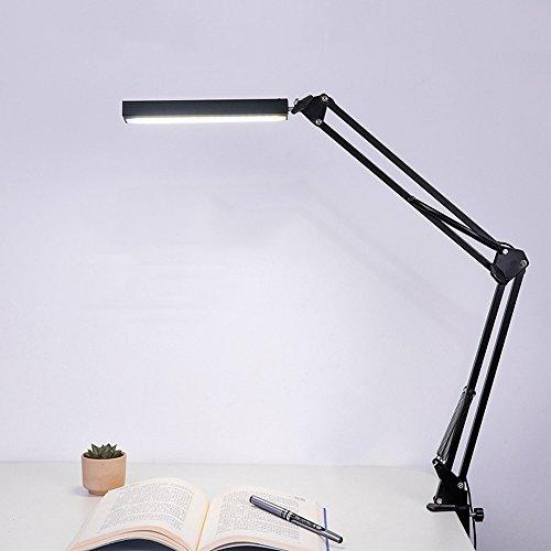 Jian Ya Na Bras Swing LED métal Lampe de bureau Dimmable flexible lampe Clamp pour Architecte Ingénieur de lecture Bureau Table pliante Lumière, Touch Control, Noir
