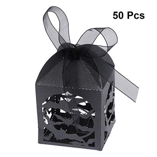 Fledermaus Boxen Süßigkeitskästen Hohl Gestanzte Bevorzugungskästen Hochzeit Süßigkeitskästen Halloween Geschenkboxen 50 STÜCKE (Schwarz) ()