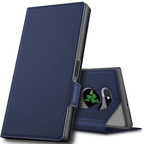 GeeMai Razer Phone 2 Hülle, Leder Hülle Flip Case Wallet Stylish mit Standfunktion und Magnetisch Ledertasche Schutzhülle handyhüllen für passt für Razer Phone 2 Smartphone, Blau