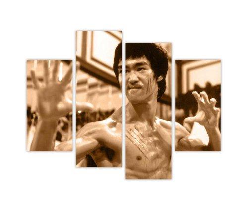 "Kunstdruck auf Leinwand, Motiv ""Bruce Lee"", 4-teilig, 90 x 71 cm, Keilrahmen, Sepia"