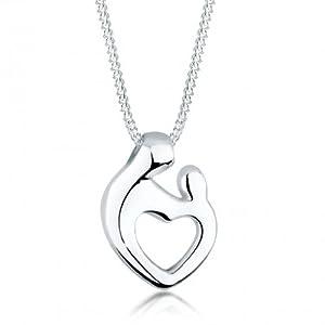 Elli Damen Schmuck Halskette Kette mit Anhänger Mutter & Kind Herz Verbundenheit Liebe Silber 925 Länge 45 cm