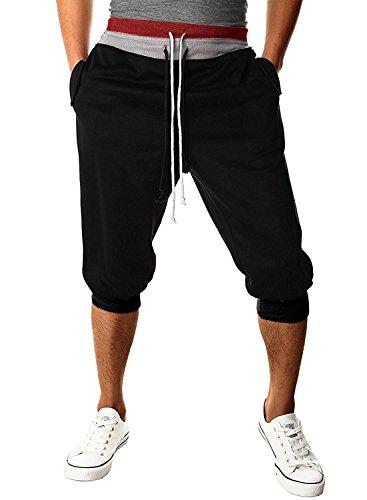 Minetom Herren Traininghose 3/4 Haremshos Fitness Jogginghose Sporthose Loose Crotch Hose( Schwarz EU M ) - Dickies-elastische Taille Hose