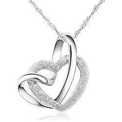 """Angel for Angel® 925 argent sterling amour coeurs doubles pendentif collier avec 18"""" de chaîne bijoux"""