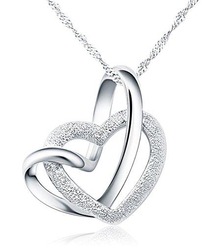 925-Sterling-Silber-Doppel-liebe-Herzen-Halskette-mit-45cm-sterling-Silber-kette-Schmuck