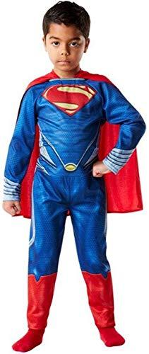 Jungen Superheld Superman Mann aus Stahl büchertag Halloween Kostüm Kleid Outfit 3-10 Jahre - Blau, Blau, 7-8 Years