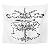 Tapestry Black Tree Braniewo of Arms Town in Poland Vintage from Meyers Konversations Lexikon 1897 Shield Engraved Home Decor Wall Hanging for Living Room Bedroom Dorm 50x60 inches