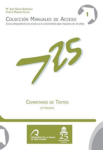Comentario Textos Manuales Acceso Mayores 25 años: