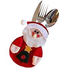 LAMEIDA Papá Noel de Navidad Bolsillos para Cubiertos Muñeco de Nieve Ciervo Decoración Para Cuchara Vajilla Mesa Hotel Restaurante Cafeteria