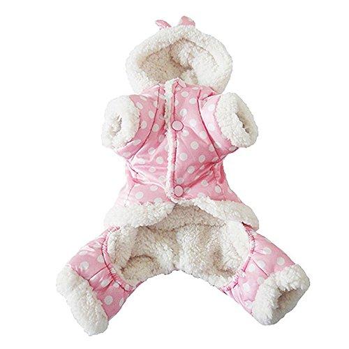 Abrigo buzo rosa con lunares para perro talla XL