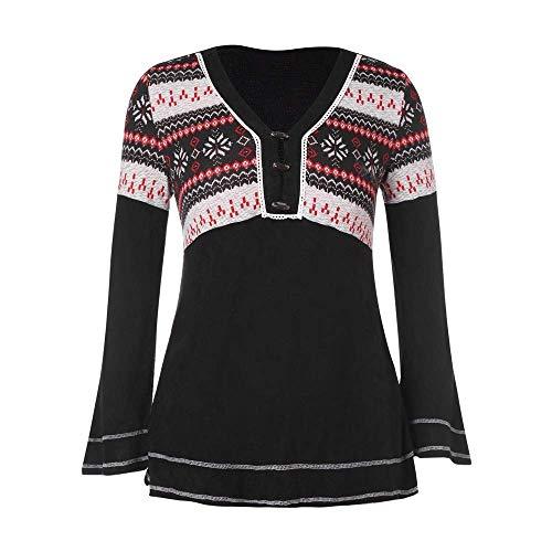 Damen Plus Size Shirt V Ausschnitt Buttons Flare Long Kleidung Sleeves Tee Black Bluse Gestricktes Weihnachten Schneeflocke T Shirt (Color : Schwarz, Size : 2XL)