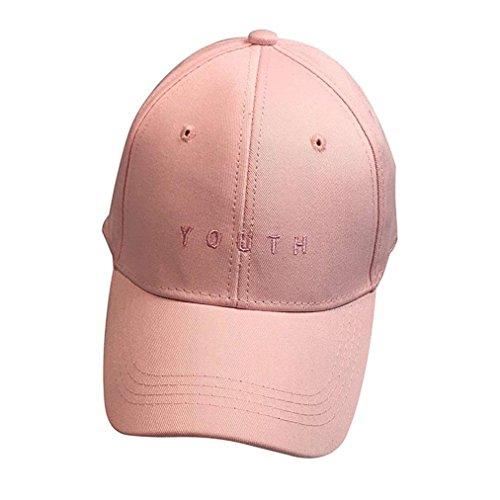 Minetom Ragazzi Ragazze Ricamo Lettera Cotone Baseball Hip Hop Cappello Unisex Cappellini Da Baseball Rosa One Size