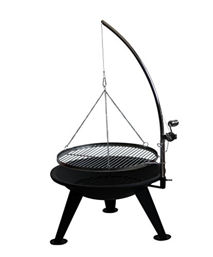Barbecue Fire Pit - Big 65 cm Bowl - Suspended Adjustable BBQ Chrome Grill - with poker