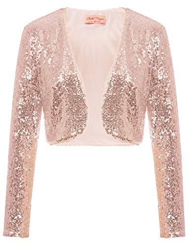 Fashion Bolero festlich Damen Bolero rosa Gold Pailletten Bolerojacke Festliche Shrug M BP570-4