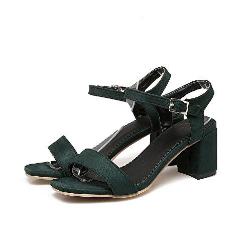 Sommer Einfach Eleganter Schnalle Bequem Platz Ferse, Grün, 11. (Grünen Tuch Elf Schuhe)